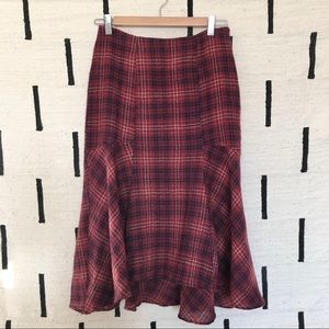 Anthropologie Maeve Plaid Wool Flounce Midi Skirt